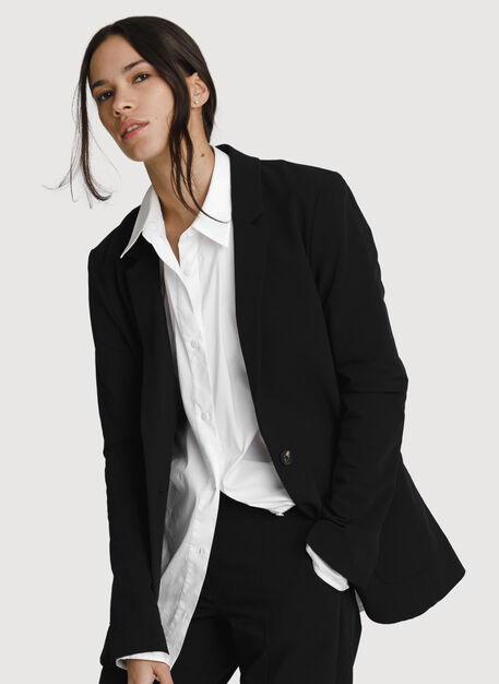 Relaxed Stretch Blazer, BLACK | Kit and Ace
