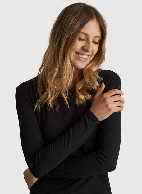 Kit Tech Jersey Crew Long Sleeve Slim Fit, HTHR Black | Kit and Ace