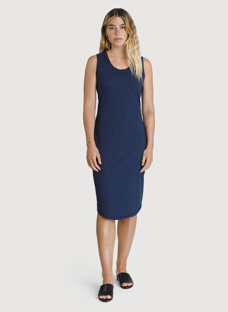 Kit Pima Scoop Neck Dress, HTHR Deep Navy | Kit and Ace