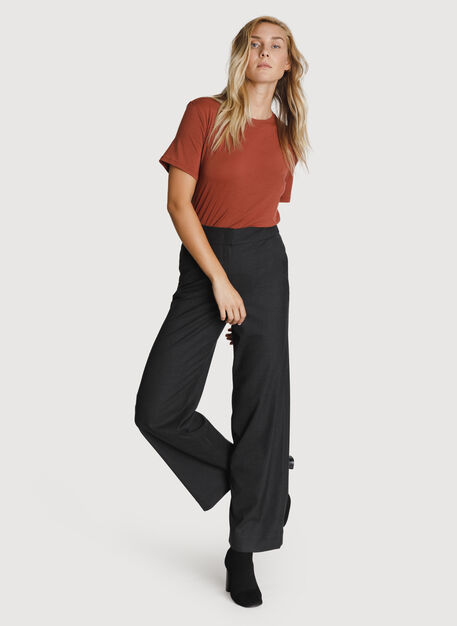 Wide Leg Stretch Trouser, HTHR Charcoal | Kit and Ace