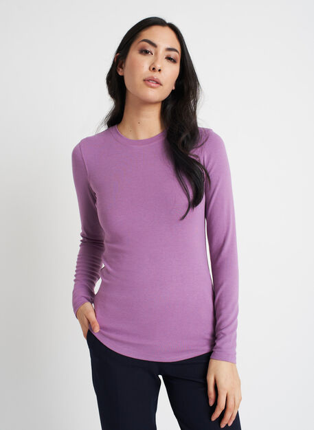 Kit Long Sleeve Crewneck Tee, Grape | Kit and Ace