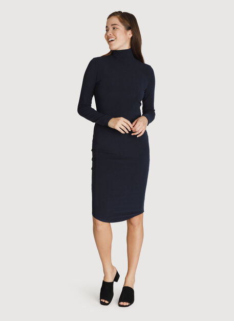 Rib Turtleneck Dress, HTHR DK Navy | Kit and Ace