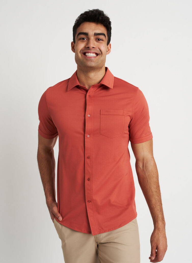 City Tech Classic Short Sleeve Shirt, Ember | Kit and Ace