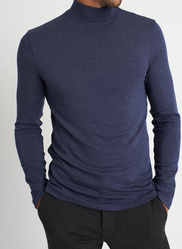 First Class Turtleneck, Heather Dark Navy | Kit and Ace