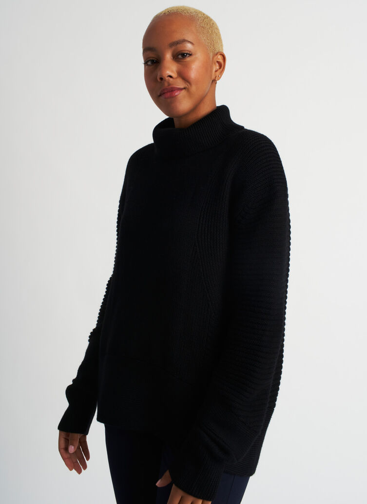 Ash Turtleneck Sweater, Black | Kit and Ace