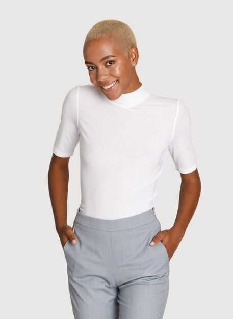 Rib Mock Neck Mid Sleeve, Bright White | Kit and Ace