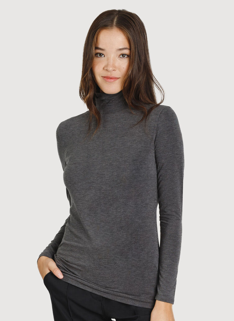 Kit Long Sleeve Turtleneck, HTHR Charcoal | Kit and Ace