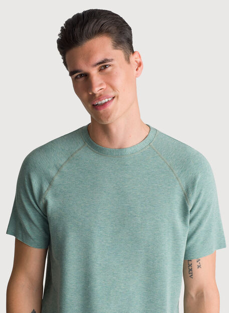 Edge Brushed Short Sleeve Crew, HTHR Aegean | Kit and Ace