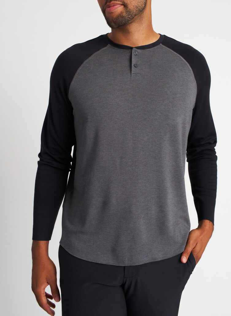 Brushed Baseball Henley Tee, Heather Charcoal/Black | Kit and Ace