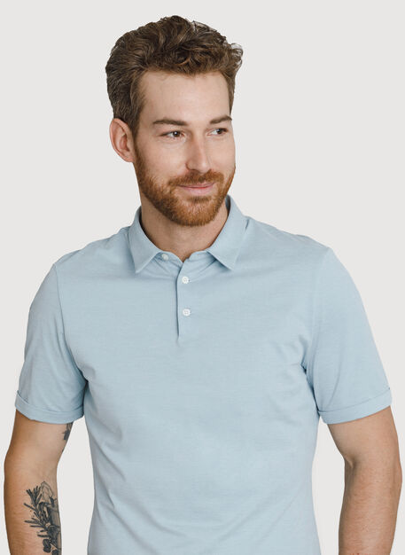 Court Stretch Polo, Smoke Blue Chambray | Kit and Ace