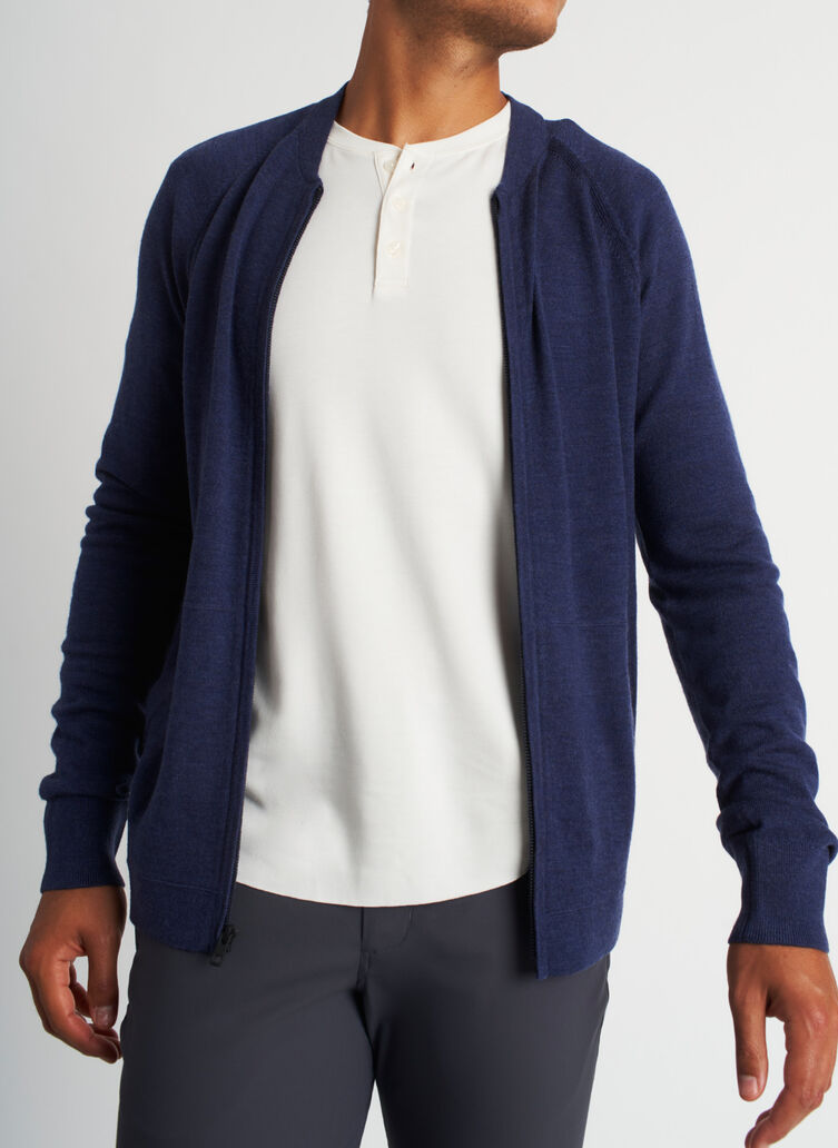 A to B Bomber, Heather Dark Navy | Kit and Ace