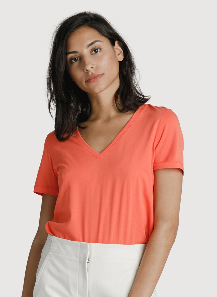 The Main Pima V Neck, Hot Coral | Kit and Ace