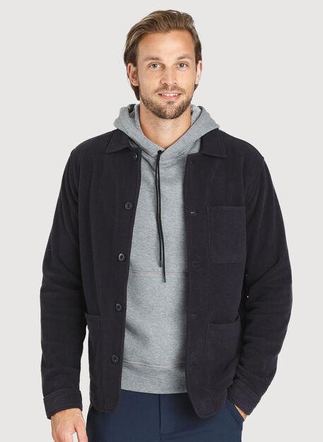 Snug Fleece Shirt Jacket, Black | Kit and Ace