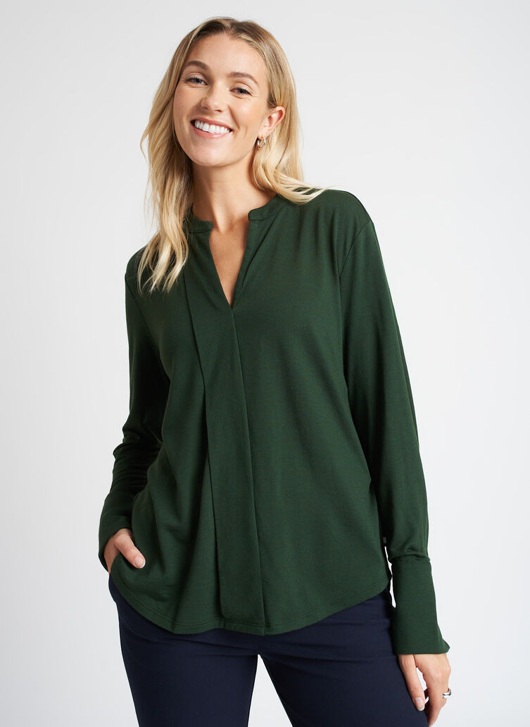 Merino Jersey Blouse, Forest | Kit and Ace