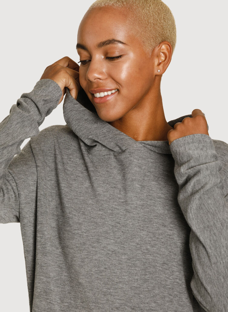 Weekend Brushed Hoodie, Heather Grey | Kit and Ace