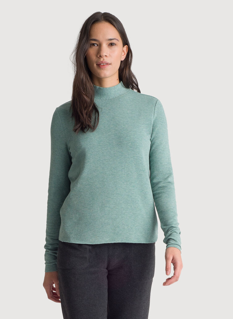 Brushed Mock Neck Long Sleeve Tee, HTHR Aegean | Kit and Ace