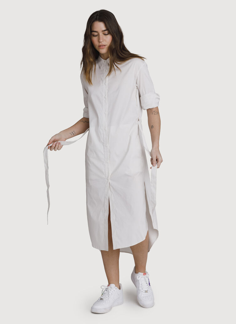 Studio Stretch Shirt Dress, Bright White/Aran Stripe | Kit and Ace