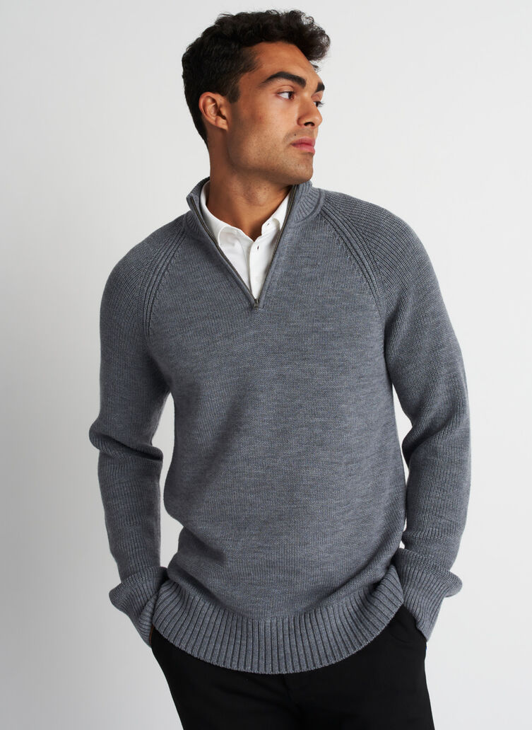 Cozy Merino Turtleneck Sweater, Heather Grey | Kit and Ace