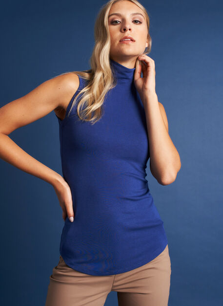 Kit Sleeveless Turtleneck, Deep Blue | Kit and Ace