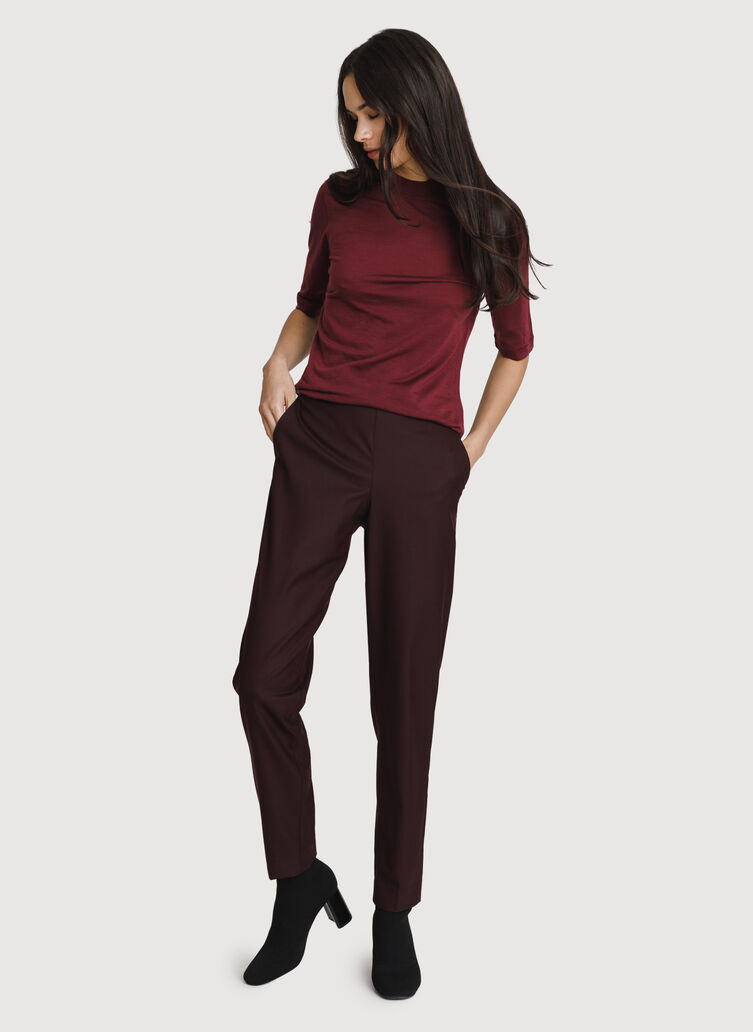 Washable Merino Mid Sleeve Tee, Merlot | Kit and Ace
