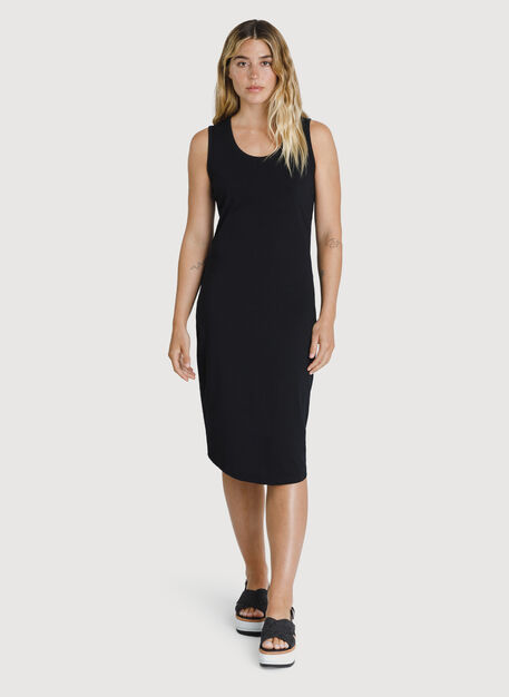 Kit Pima Scoop Neck Dress, BLACK | Kit and Ace