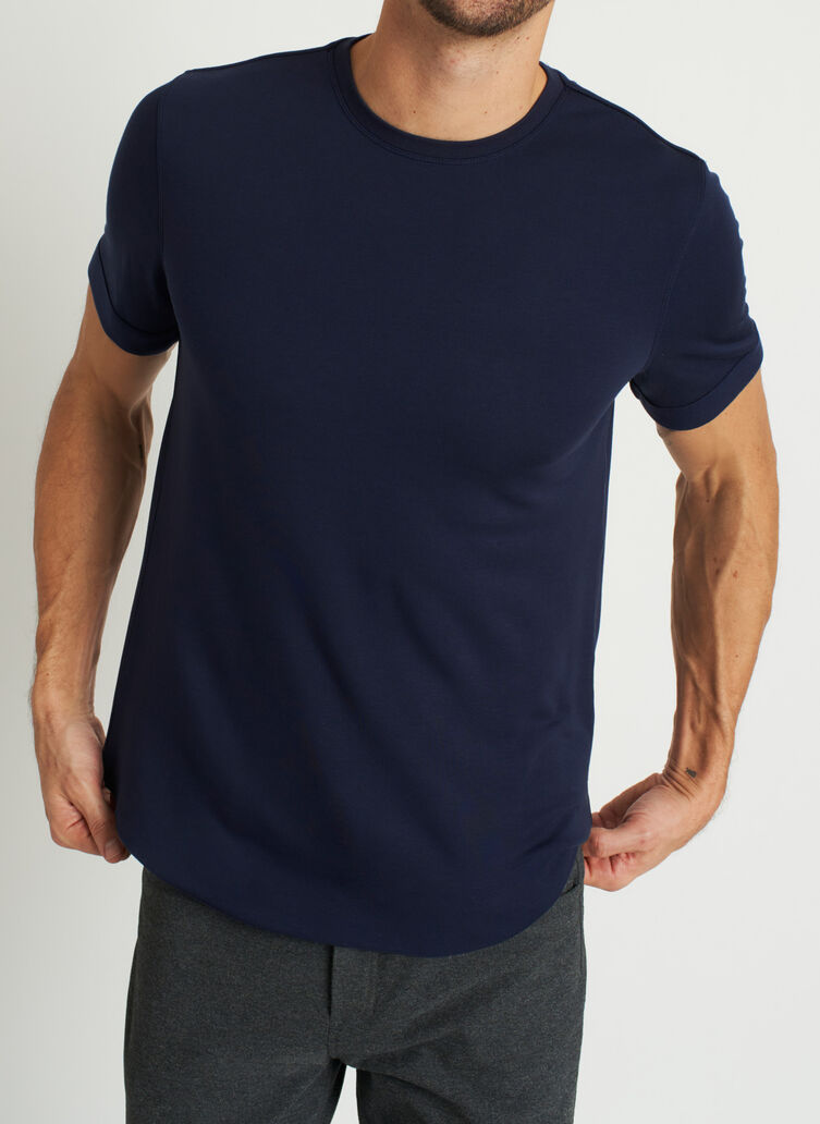 Brushed Crewneck Tee, Dark Navy | Kit and Ace