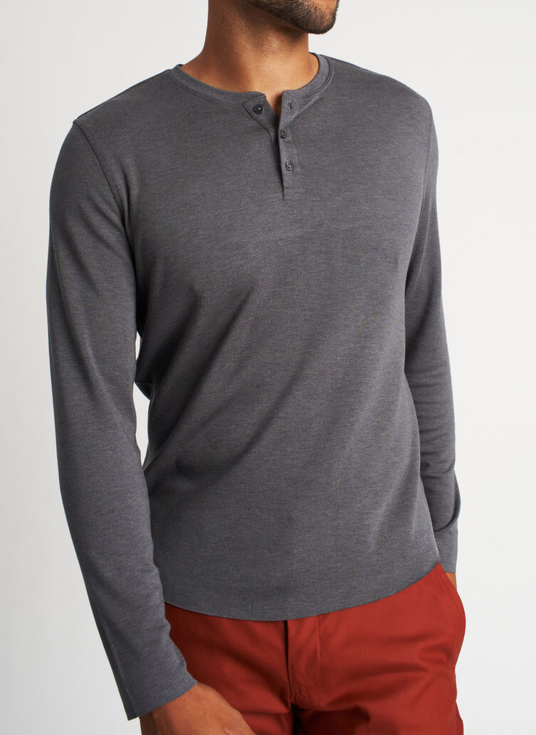 The B.F.T. Long Sleeve Henley Tee, Heather Charcoal | Kit and Ace