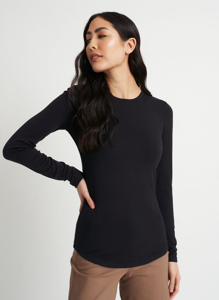 Kit Long Sleeve Crewneck Tee, Black | Kit and Ace
