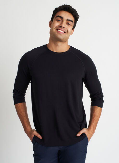 Comfy Brushed Baseball Tee, Black | Kit and Ace