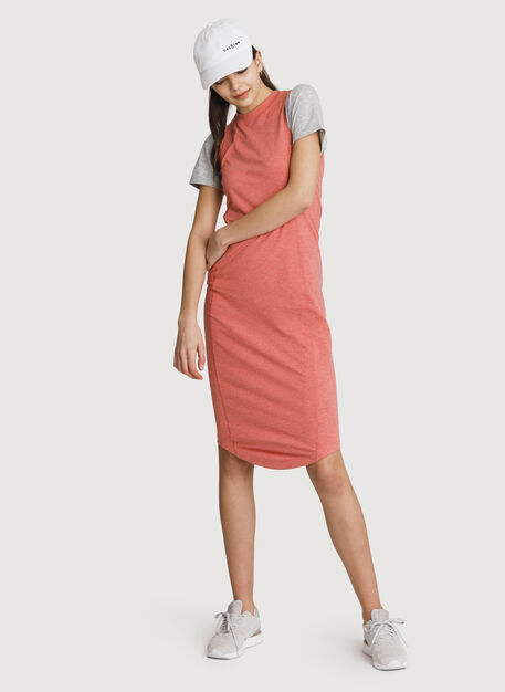Mock Neck Pima Long Dress, HTHR Dusty Cedar | Kit and Ace