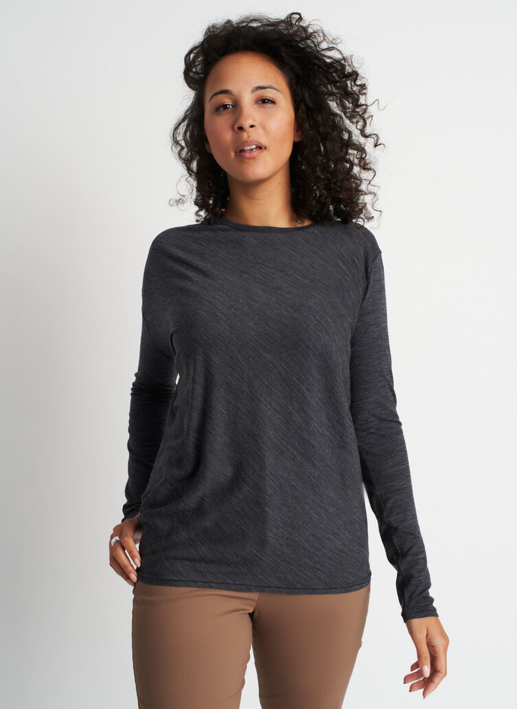 Effortless Merino Wave Long Sleeve Tee, Heather Charcoal | Kit and Ace
