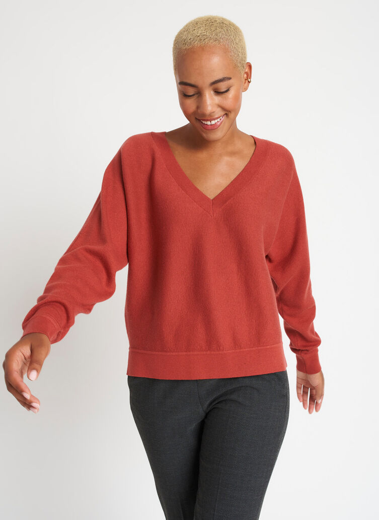 Back to Front Merino Wool Sweater, Paprika | Kit and Ace