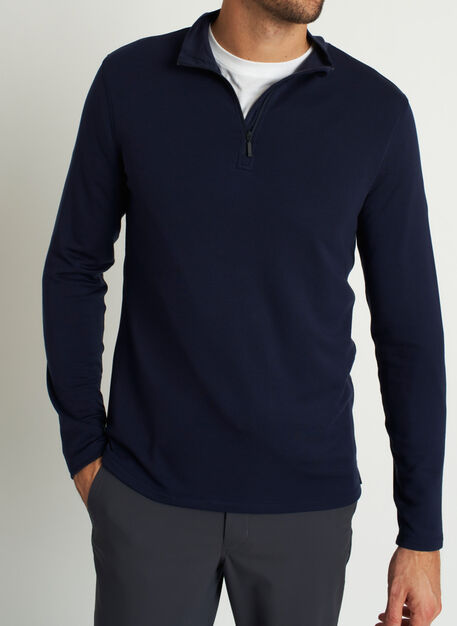 Comfy Brushed Quarter Zip Pullover, Dark Navy | Kit and Ace
