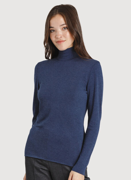 Upgrade Turtleneck, Heather Dark Navy | Kit and Ace