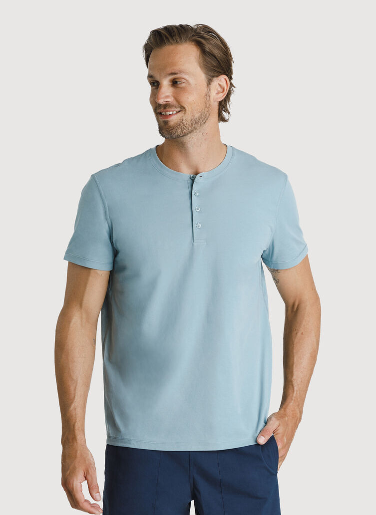 Ace Pima Henley Tee, Ocean Blue | Kit and Ace