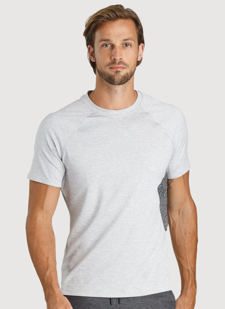 Side Storage Tee, HTHR Lt Grey | Kit and Ace