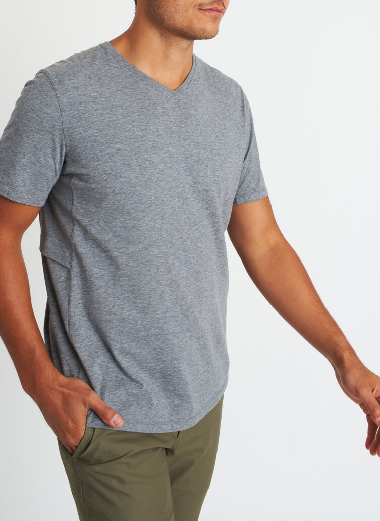 Stash and Ride V-Neck Tee, Heather Grey | Kit and Ace