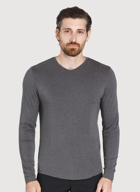 The B.F.T. Long Sleeve V-Neck, HTHR Charcoal | Kit and Ace