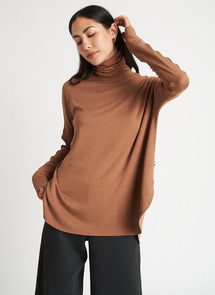 Burrow Turtleneck, Heather Toffee | Kit and Ace