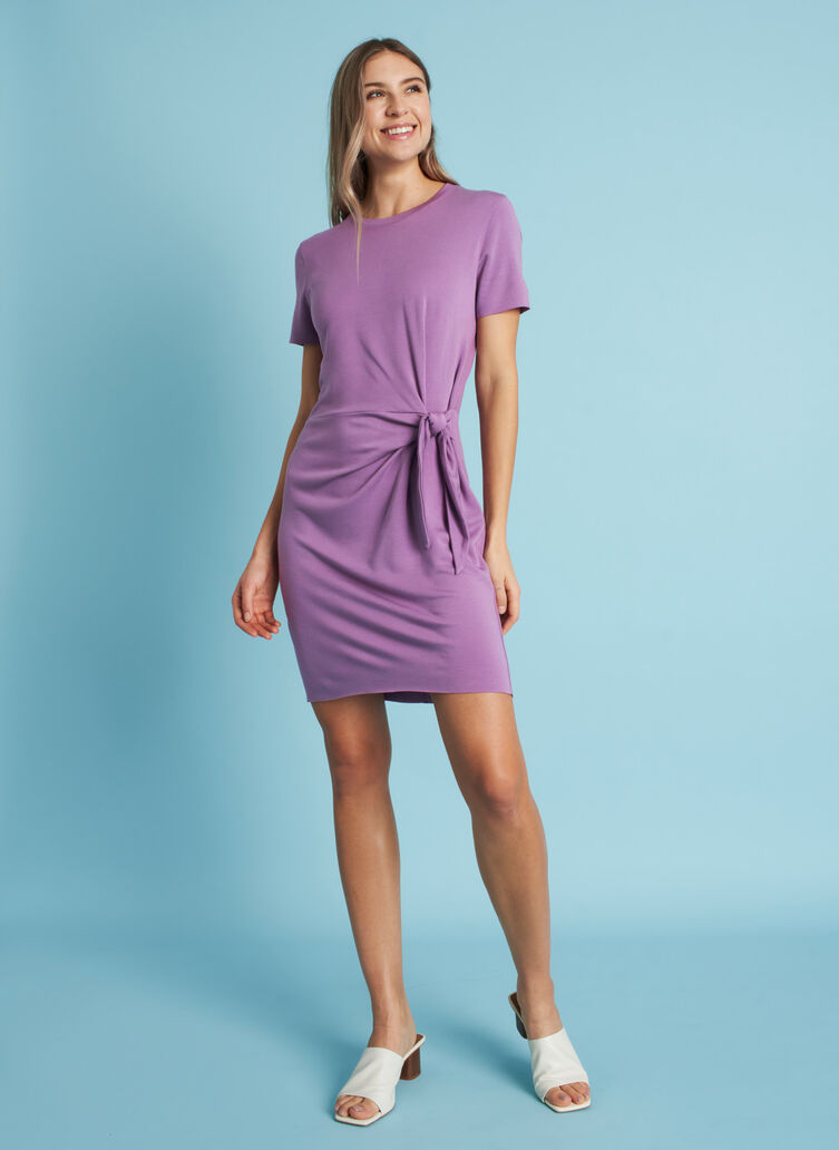 Brushed Tie Dress, Grape | Kit and Ace
