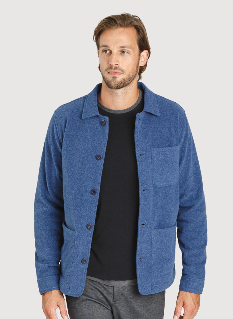 Snug Shirt Jacket, Heather Blue Indigo | Kit and Ace
