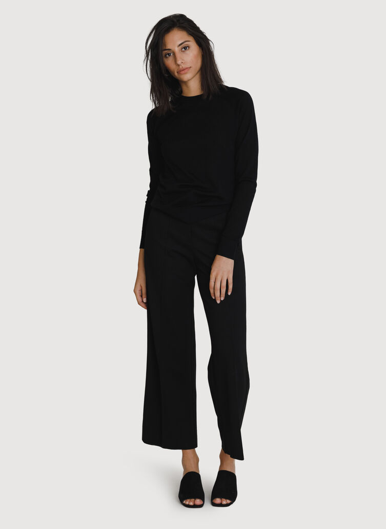 Coastline Wide Leg Trouser *Light, BLACK | Kit and Ace