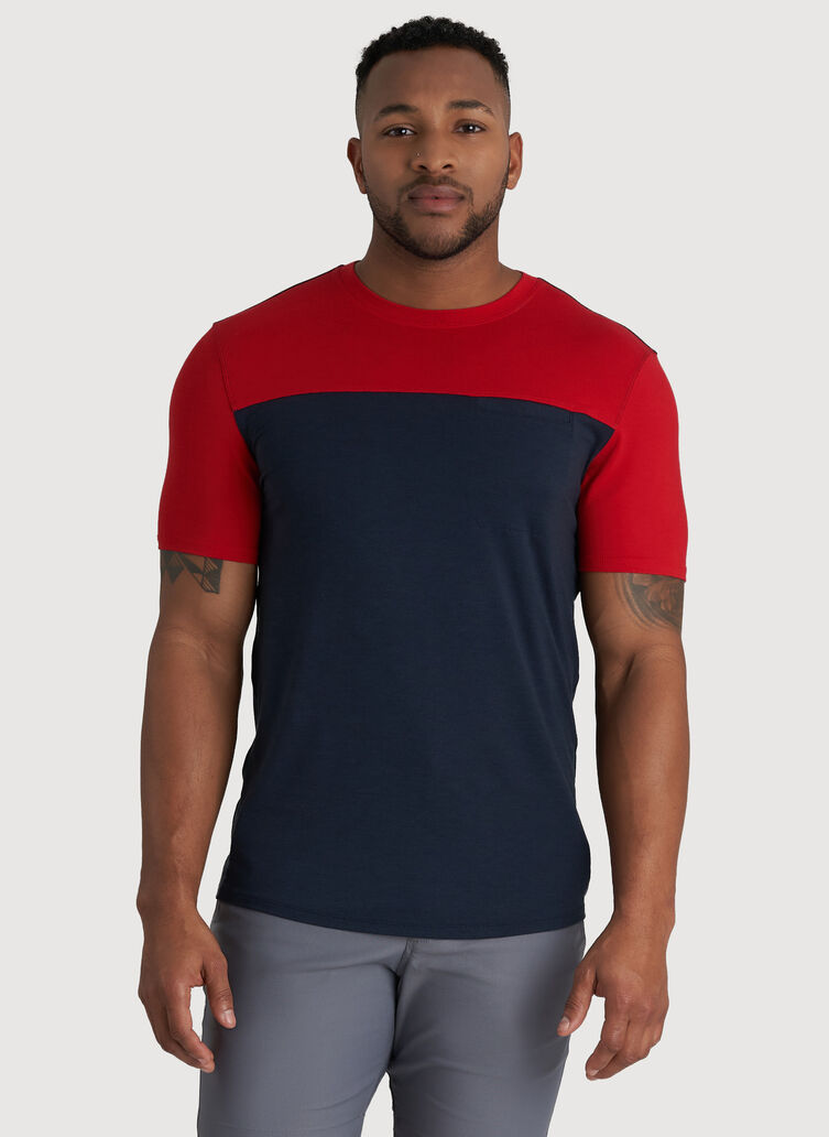 Ace Pocket Crewneck Tee, Dark Navy/Crimson | Kit and Ace