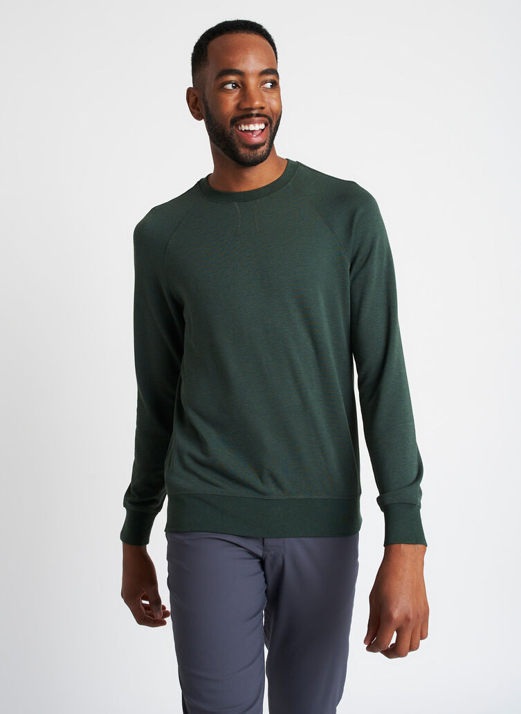 Chillin Brushed Pullover, Heather Forest | Kit and Ace