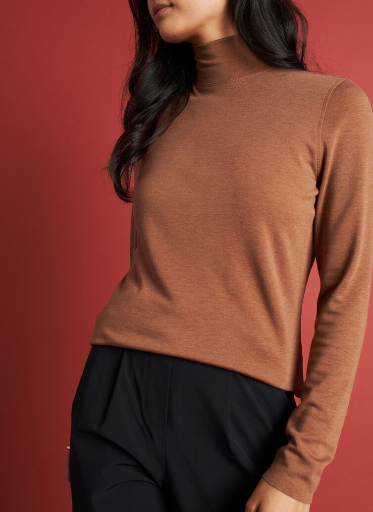Upgrade Brushed Turtleneck, Heather Toffee | Kit and Ace