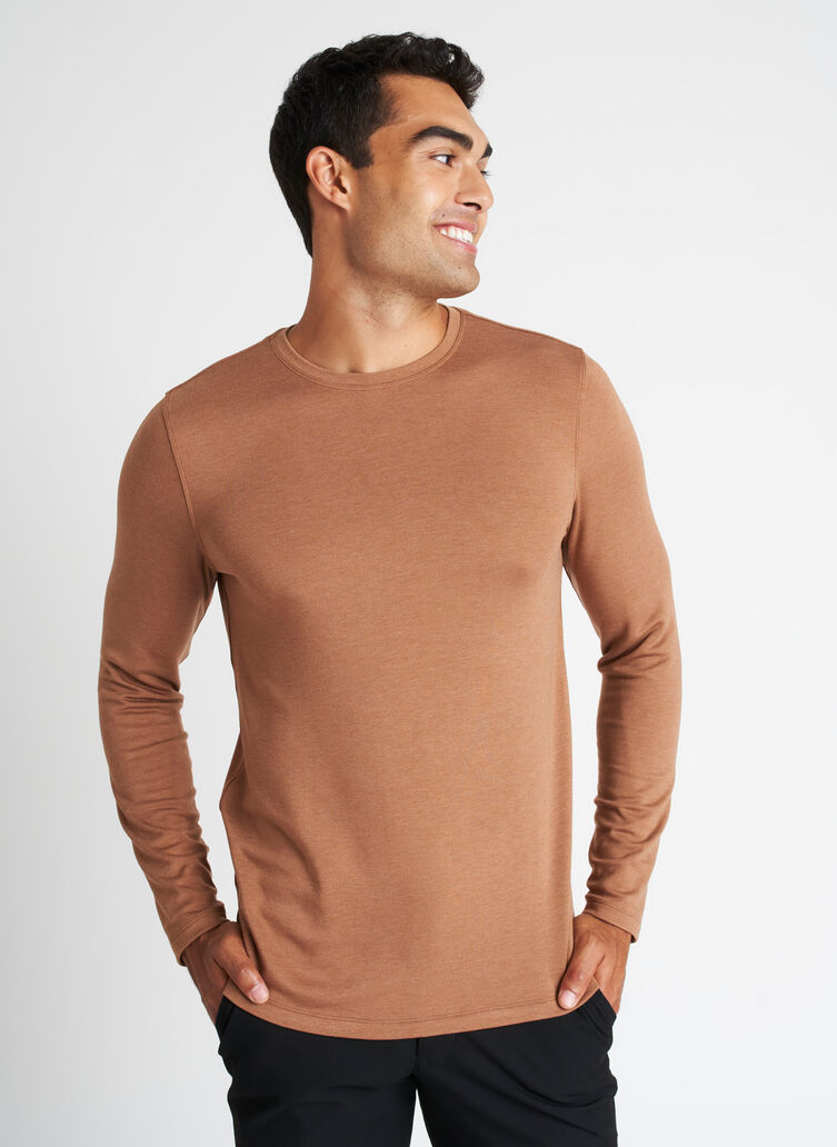 Upgraded Brushed Long Sleeve Crewneck Tee, Heather Toffee | Kit and Ace