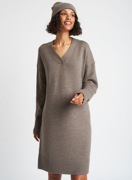 Chunky Merino Sweater Dress, Heather Taupe | Kit and Ace
