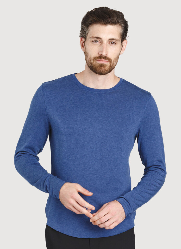 The B.F.T. Long Sleeve Crewneck Tee, Heather Blue Indigo | Kit and Ace