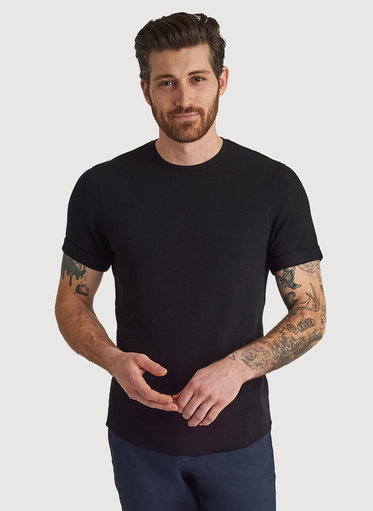 Cuffed Brushed Crewneck Tee, Black | Kit and Ace