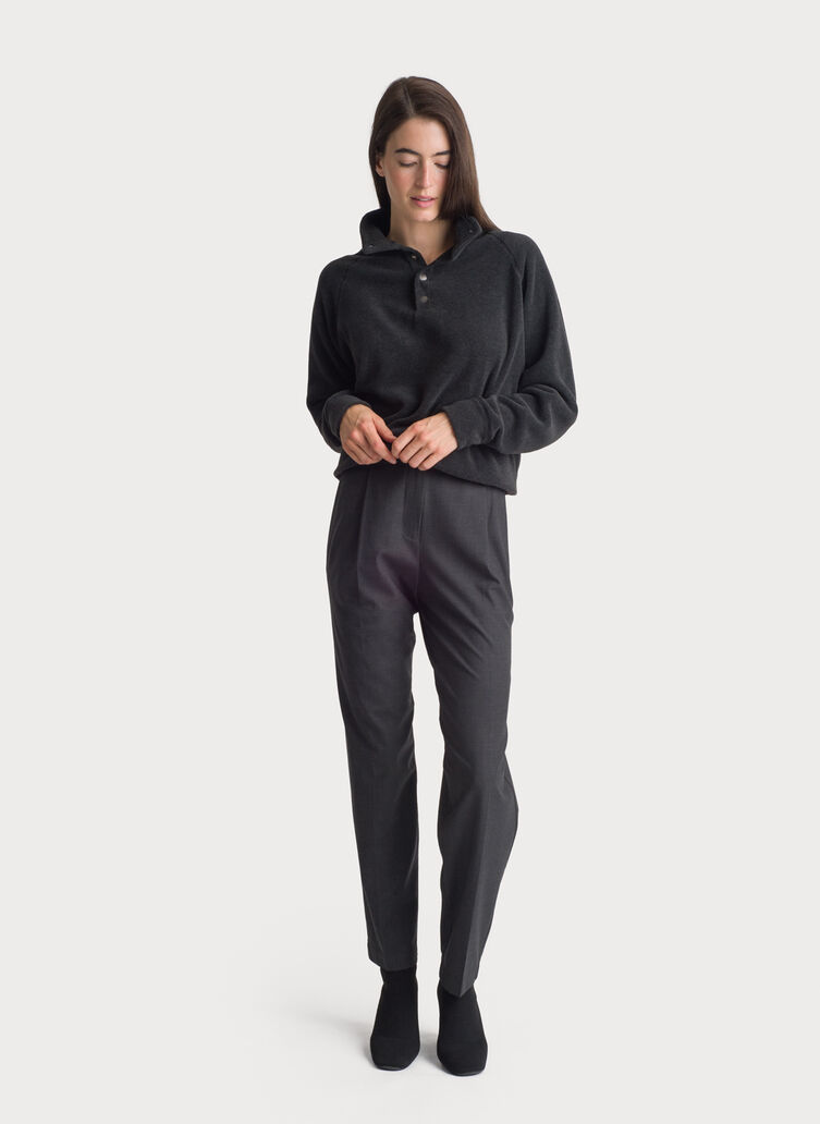 Stretch Suiting Pleated Trouser, HTHR Charcoal   Kit and Ace